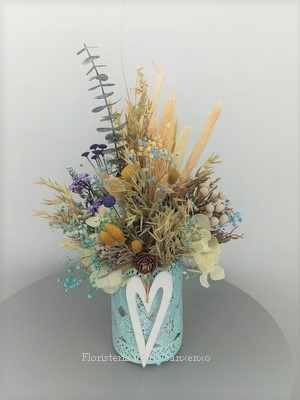 ramo flores secas jarron azul
