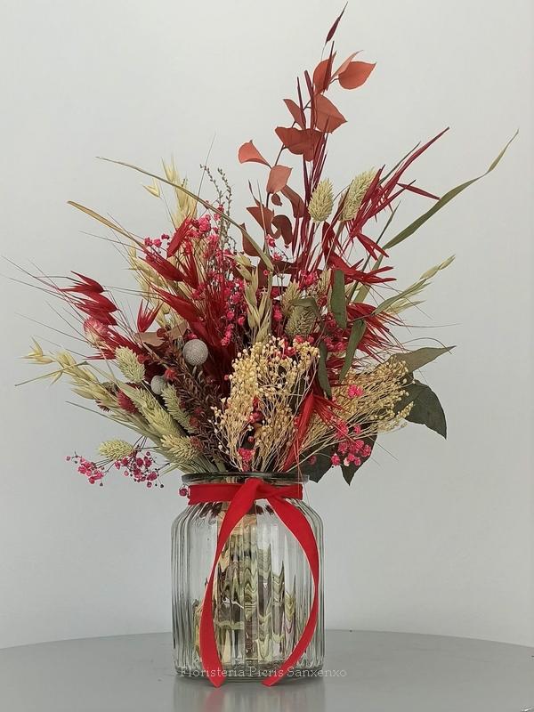 ramillete flores preservadas rojo